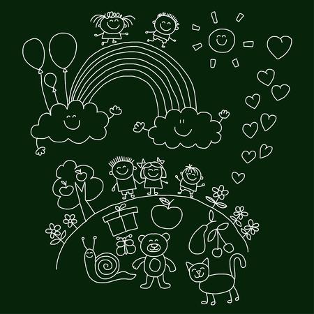 teddy: Vector illustration with kids. Children play in school yard Illustration