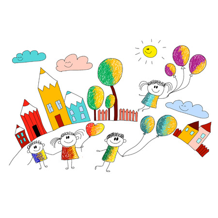 Vector illustration with kids. Children play in school yard Illustration