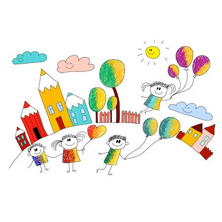 Vector illustration with kids. Children play in school yard Çizim