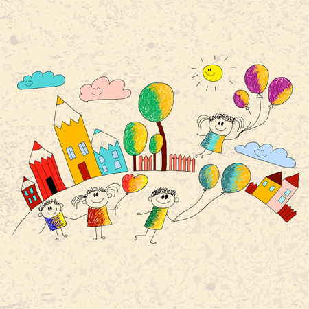 have fun: Vector illustration with kids. Kids play and study.