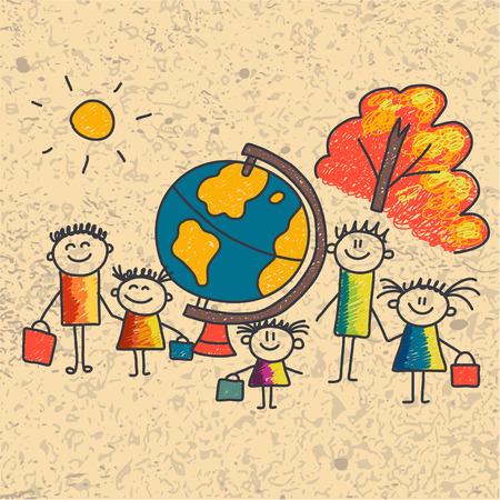 patio escuela: Ilustraci�n del vector con ni�os. Los ni�os juegan en el patio de la escuela
