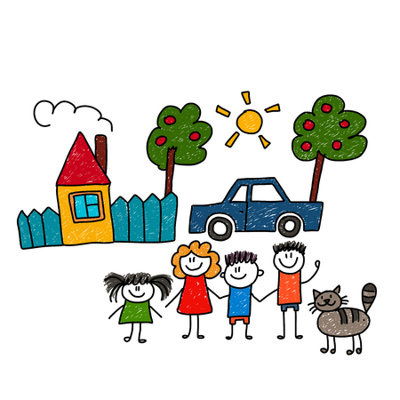 Happy family. Vector illustration. Fun in the sunny day