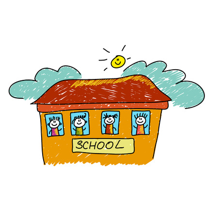 hi back: Vector illustration. Back to school template with kids
