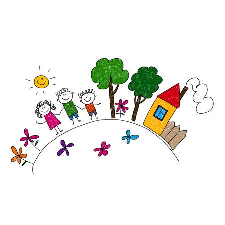 Glückliche Familie. Vektor-Illustration. Spaß im sonnigen Tag Standard-Bild - 46874052