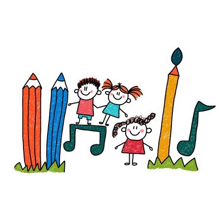 Happy children play. Vector hand drawn illustration