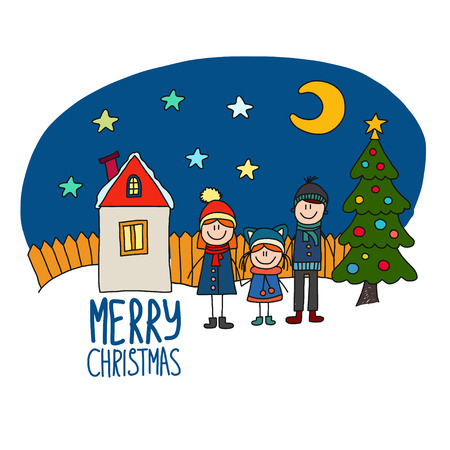 happy holidays: Happy family Chirstmas family holidays Vector illustration.