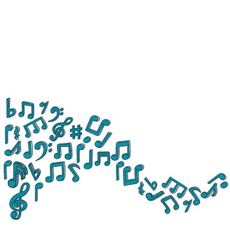 Musical de estilo Doodle observa el fondo. Ilustración del vector. Foto de archivo - 46874085