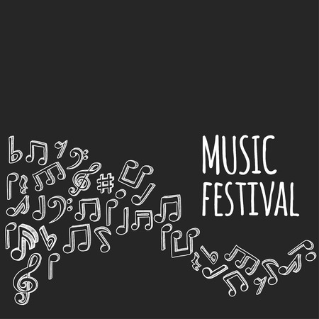 notas musicales: Musical de estilo Doodle observa el fondo. Ilustraci�n del vector. Vectores
