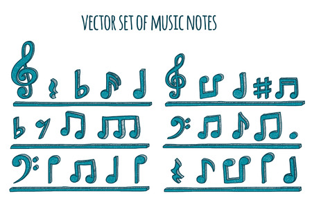 boring frame: Doodle style musical notes background. Vector illustration.