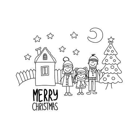 chirstmas: Happy family Chirstmas family holidays Vector illustration.