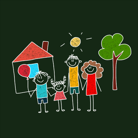 small tree: Vector image of happy family Mother, father and children. Illustration