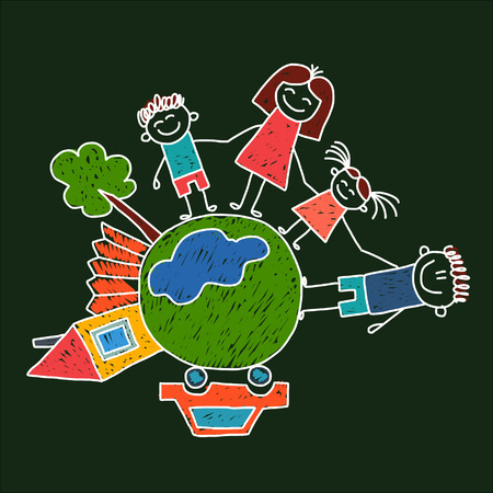 kid drawing: Vector image of happy family. Mother, father and children. Illustration