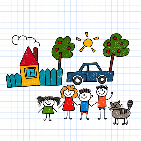 Vector image of happy family with house and car Stock Illustratie