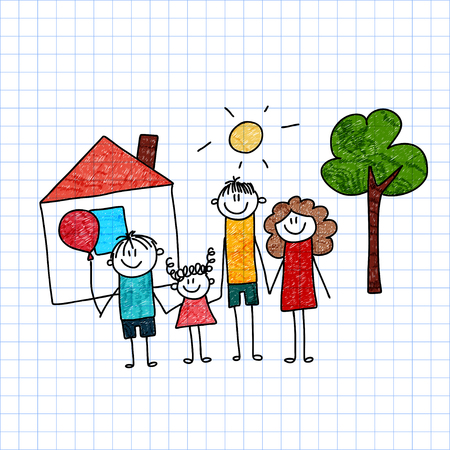 cartoon dad: Vector image of happy family Mother, father and children. Illustration