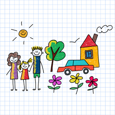 Vector image on notebook paper. Happy family. Kids drawing
