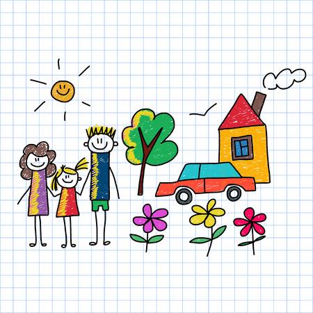 Vector afbeelding op notebookpapier. Gelukkig gezin. Kinderen tekenen