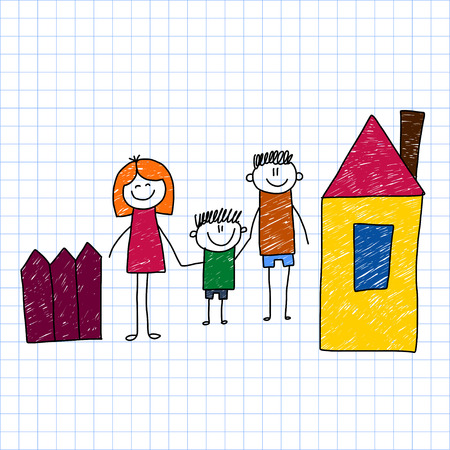 kids drawing: Vector image on notebook paper. Happy family. Kids drawing