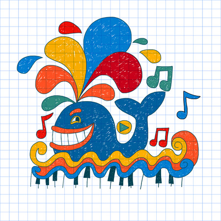 ni�os felices: Vector image of nice happy musical whale. Notebook paper