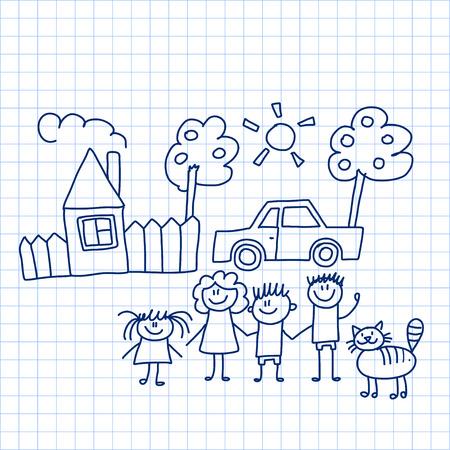 집과 차와 행복 한 가족의 벡터 이미지