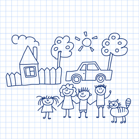 crayon: Vector image of happy family with house and car Illustration