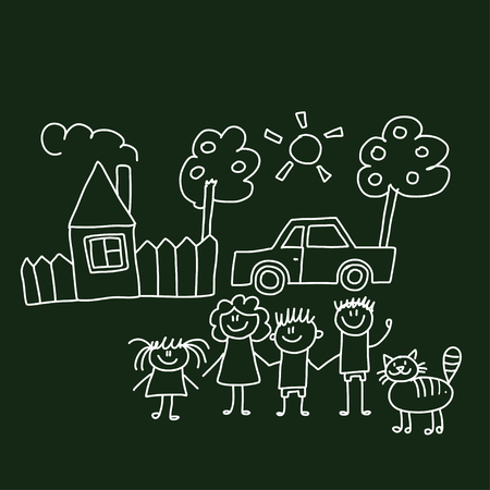 happy family house: Vector image of happy family with house and car Illustration