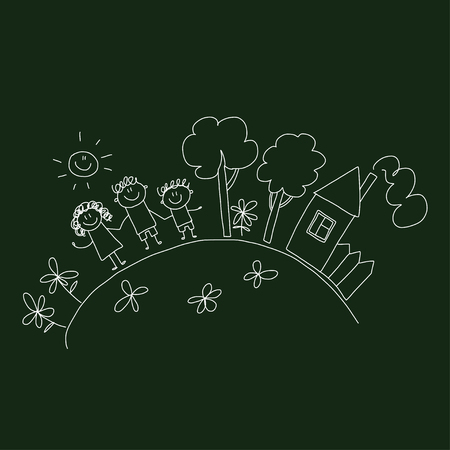 happy family house: Vector image of happy family with their house and meadow.