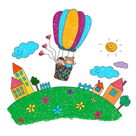 Cartoon bambini volano in mongolfiera. immagine colorata estate. Archivio Fotografico - 47880544