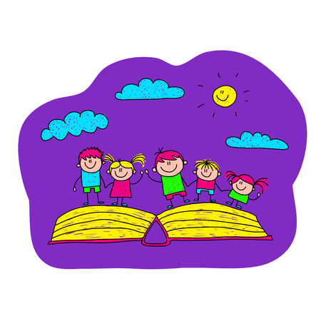 ni�os felices: Vector illustration of happy children with open book Vectores