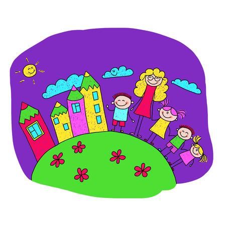 Vector illustration of happy children with teacher