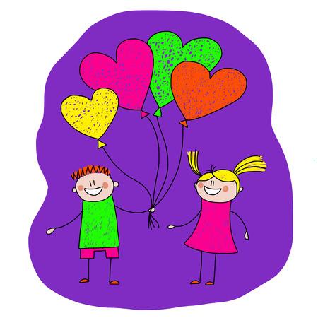 donna innamorata: Vector immagine di coppia felice con palloncini a forma di cuore