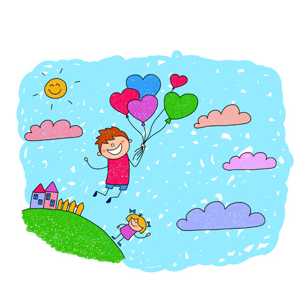 flowers boy: Cartoon boy fly at hot air balloons. Colorful summer picture. Illustration