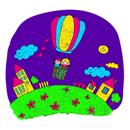 happy couple house: Cartoon kids fly at hot air balloon. Colorful summer picture.