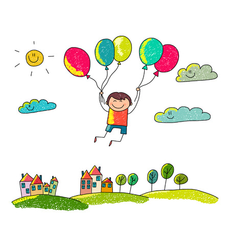 drawing trees: Cartoon boy fly at hot air balloons. Colorful summer picture. Illustration