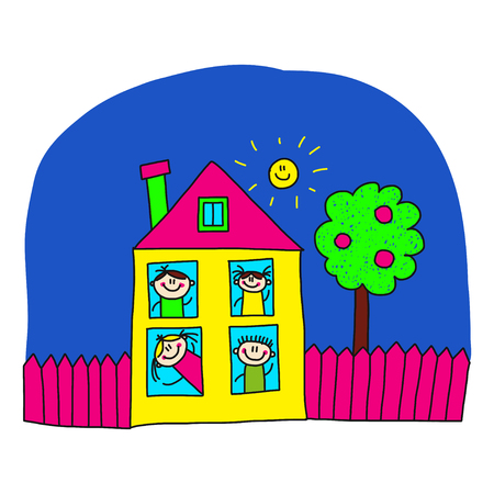 school building: Image of happy kids and school. Kids drawing Illustration