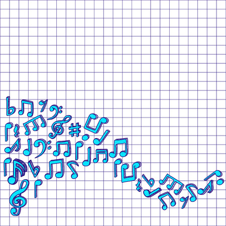 checked: music notes. Doodle style graphic on checked paper Illustration
