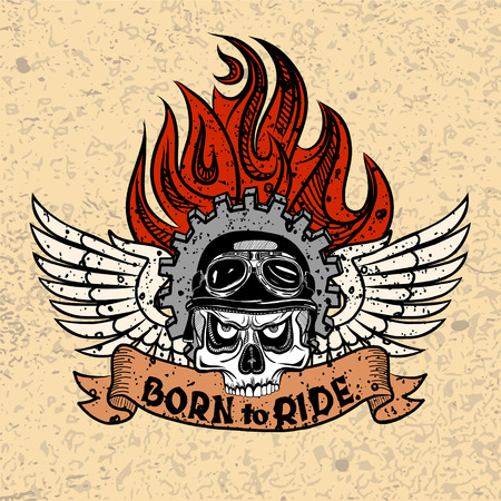 Vintage Biker Skull with wings and flame.