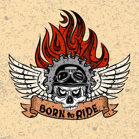 nato: Vintage Biker teschio con le ali e fiamme. Vettoriali