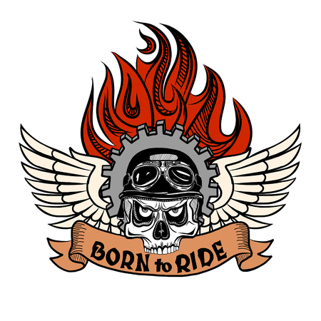 flame wings: Vintage Biker Skull with wings and flame