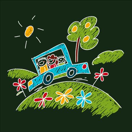 Blackboard Image of happy children. Kids drawing style
