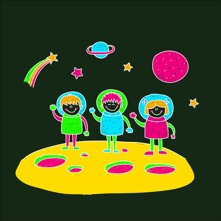 kids fun: Blackboard Image of happy children. Kids drawing style
