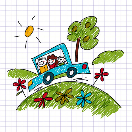 children drawing: image of happy children. Notebook paper. Kids drawing