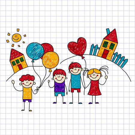 image of happy children. Notebook paper. Kids drawing