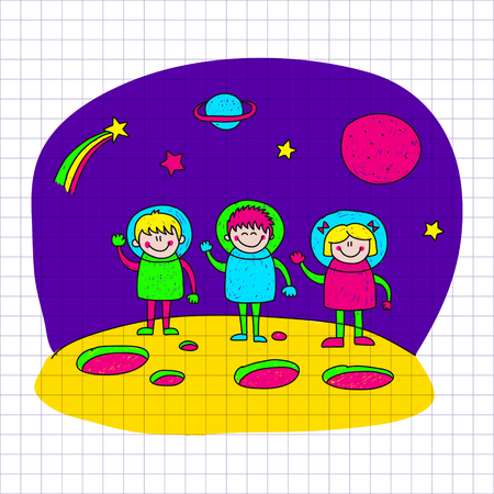 kids fun: image of happy children. Notebook paper. Kids drawing