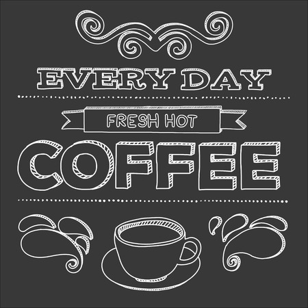 every day: Coffee poster on blackboard. Every day fresh hot coffee.