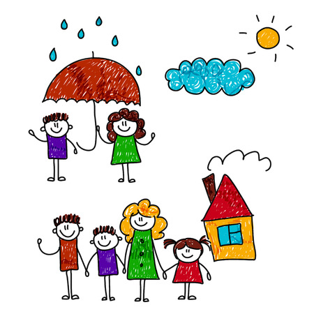 kids drawing: illustration of happy family. Social protection concept