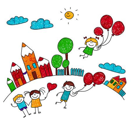 학교 운동장에서 풍선을 가지고 노는 행복한 아이들의 그림입니다. 스타일을 그리는 아이