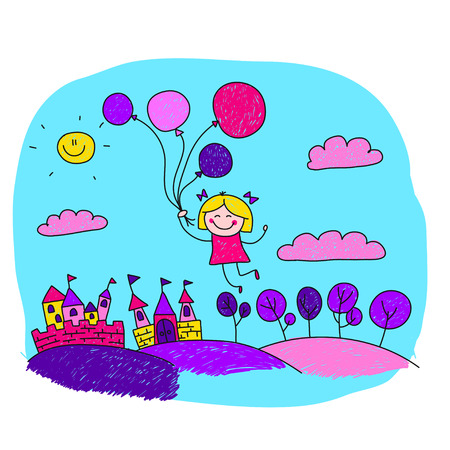 over the hill: illustration of happy princess. Kids drawing style Illustration
