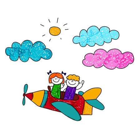 children play: Happy boy and girl fly in pencil airplane. Kids drawing