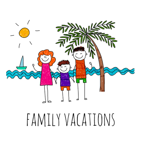 family vacation: illustration of family vacation. Kids drawing