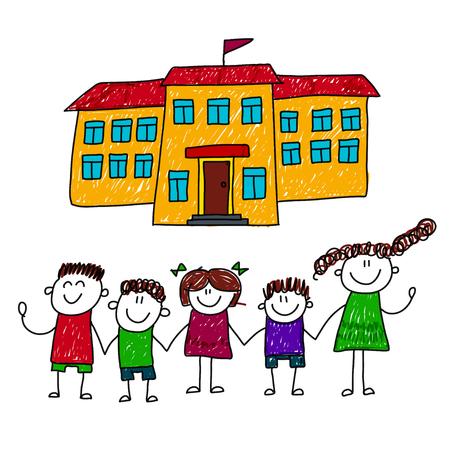 school yard: illustration of happy children at school yard. Kids drawing Illustration